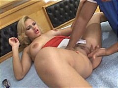Blonde Brazilian taking two dicks at once