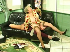 Chubby blonde granny uses her massive...