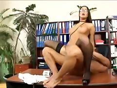 heels, stockings, anal, office,