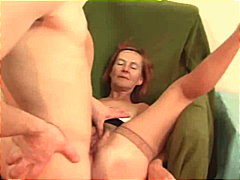 Naughty old lady fucked in hairy cunt
