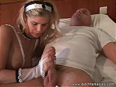 euro, maid, bj, blonde, finger,