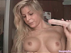 girl, big-tits, blonde, solo, dildo