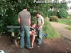 handjob, threesome, outdoors,