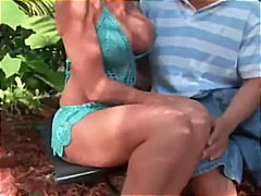 blowjob, outdoor, babe, big-tits, cougar, ass, brunette