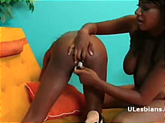 Busty ebony uses a dil... video