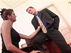 Nerdy brunette secretary fucking in t...