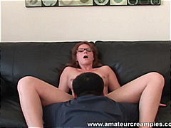 glasses, threesome, amateur, redhead, creampie, homemade, blow-job,