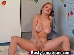 hairy, big-tits, blonde, toys, close-up, dildo, fingering, masturbation
