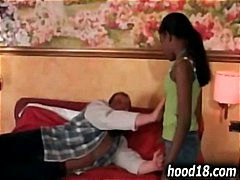 Black shy teen getting...