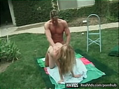 Lewd blonde chick gets fucked on lawn