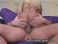 orgasm, wife, blonde, swallow,