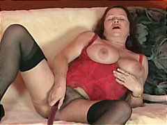 German Mature Masturbate With Dildo