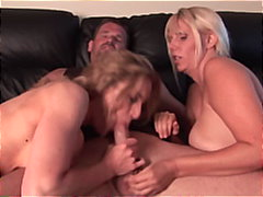 threesome, blowjob, blonde, milf,
