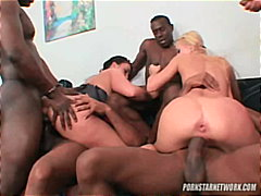 gangbang, blonde, orgy, interracial,