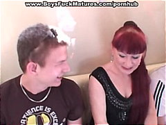 Russian mature in outdoor threesome p...