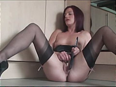 stocking, brunette, insertions, toys