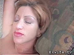 Mega milf gets cum splattered all ove...