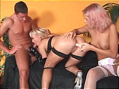 See: Strapon threesome with...