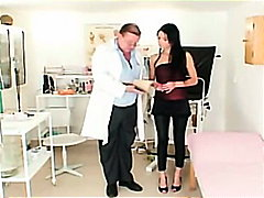 Skinny brunette in doctor anal exam