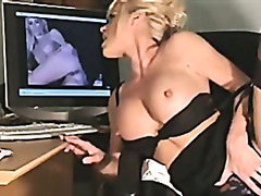 solo, milf, masturbation, office