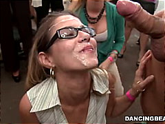 Hot birthday girl gets double messy facial