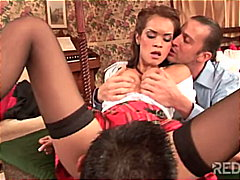 threesome, blowjob, stockings, uniform,