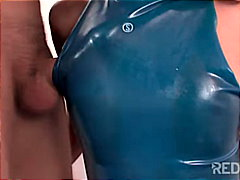 Girl in blue latex fuc...