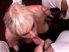 gangbang, blonde, cream pie,