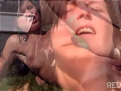 Hungry girl in hot outdoor sex
