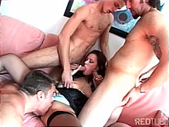 Hungry chick takes on three guys
