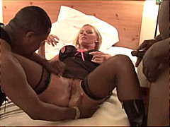 Blond MILF takes on three black cocks