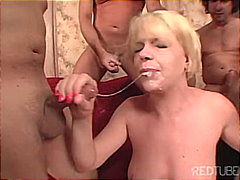 facial, gagging, blonde, milf
