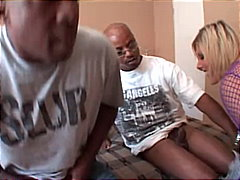 Blonde whore with big tits gangbanged