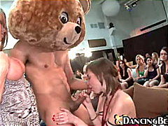 Hungry girls and one lucky bear