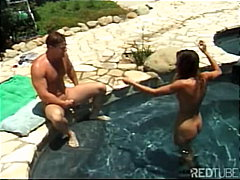 Hot teen nailed next to pool