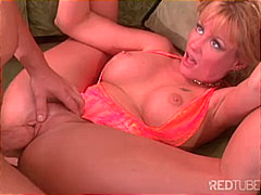 deepthroat, blonde, big tits,