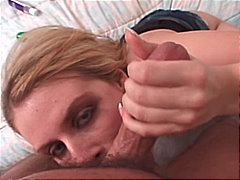 cum shot, blonde, couple, blowjob