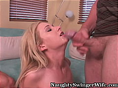 threesome, blonde, blowjob,