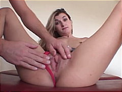 shaved, blonde, blowjob, small tits,