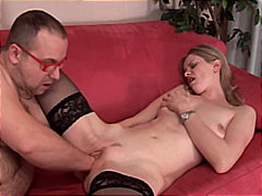See: Hot blonde gets a fist...