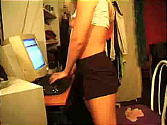 Blonde and her computer video