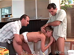 caucasian, threesome, shaved, anal sex