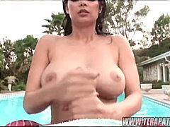 pool, big tits, outdoor, blowjob, swallow, couple, pov, pornstar