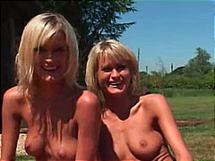 threesome, blowjob, blonde, shaved,