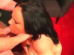 shaved, blowjob, gagging, swallow, couple,