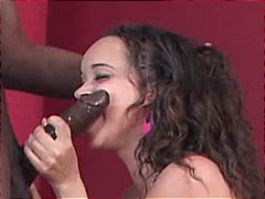 caucasian, swallow, high heels, blowjob, cum shot, ebony, couple