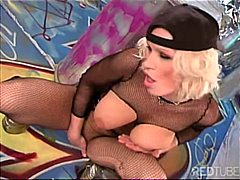 Bitch in fishnet bodystocking works h...