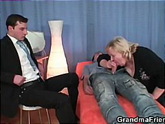 Granny takes two cocks... video