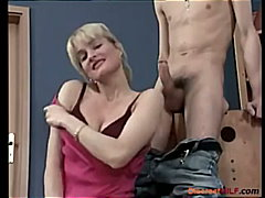 Blonde mom stroke his ... video