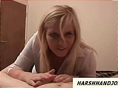 Busty blonde gives rough tugjob and s...